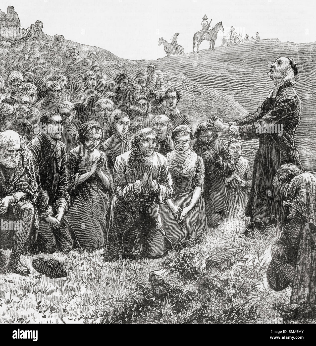 A prayer meeting of the Covenanters in the 17th century. - Stock Image