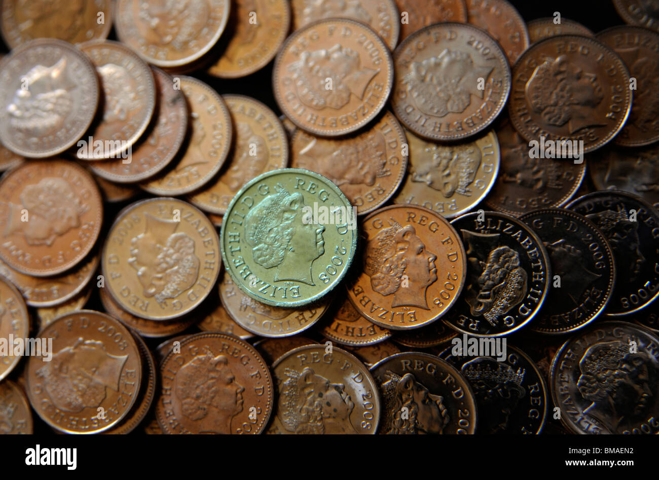 Pound coin with pennies. - Stock Image