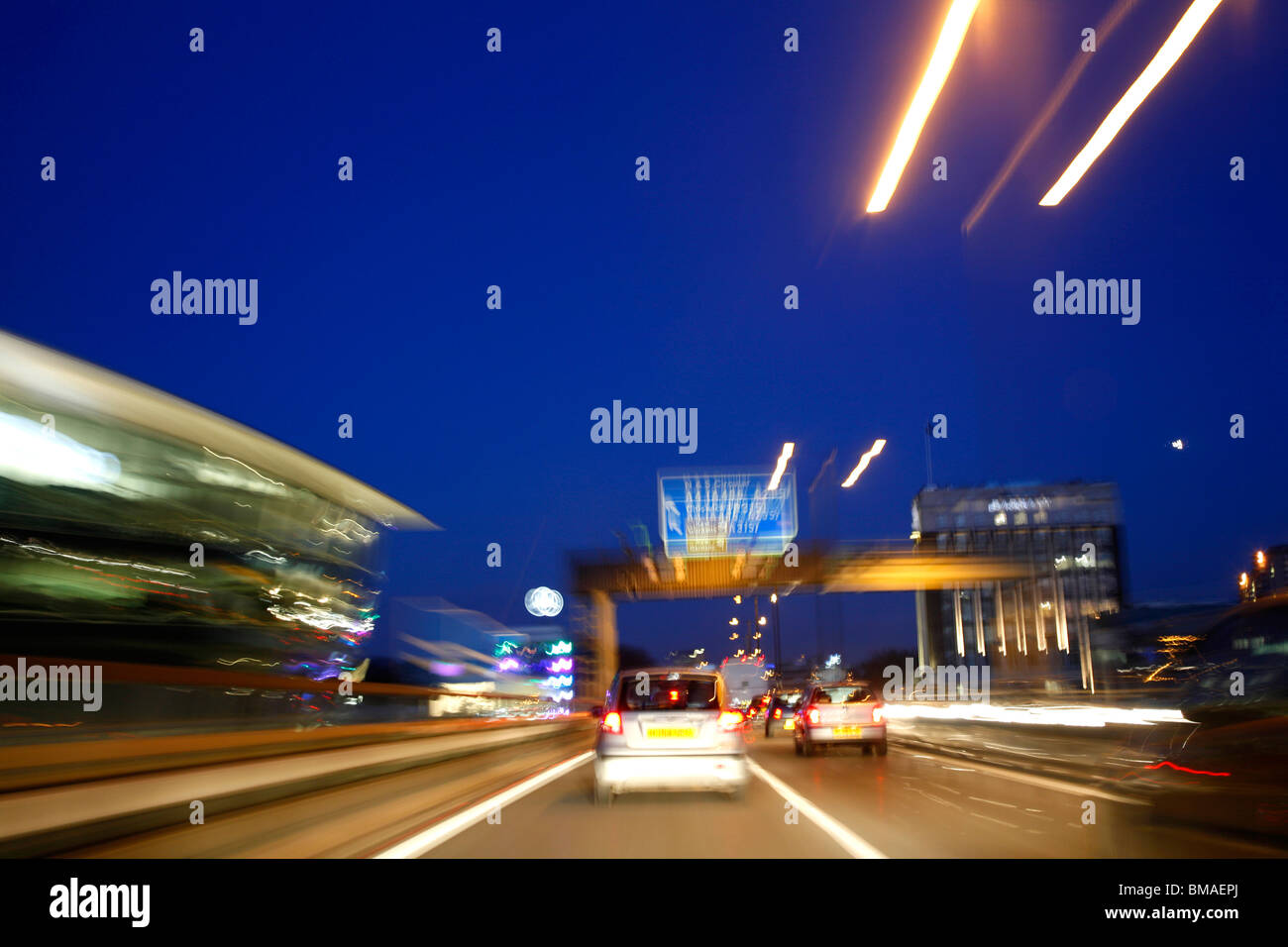 Travelling along the elevated section of the M4 motorway at Brentford, London, UK - Stock Image