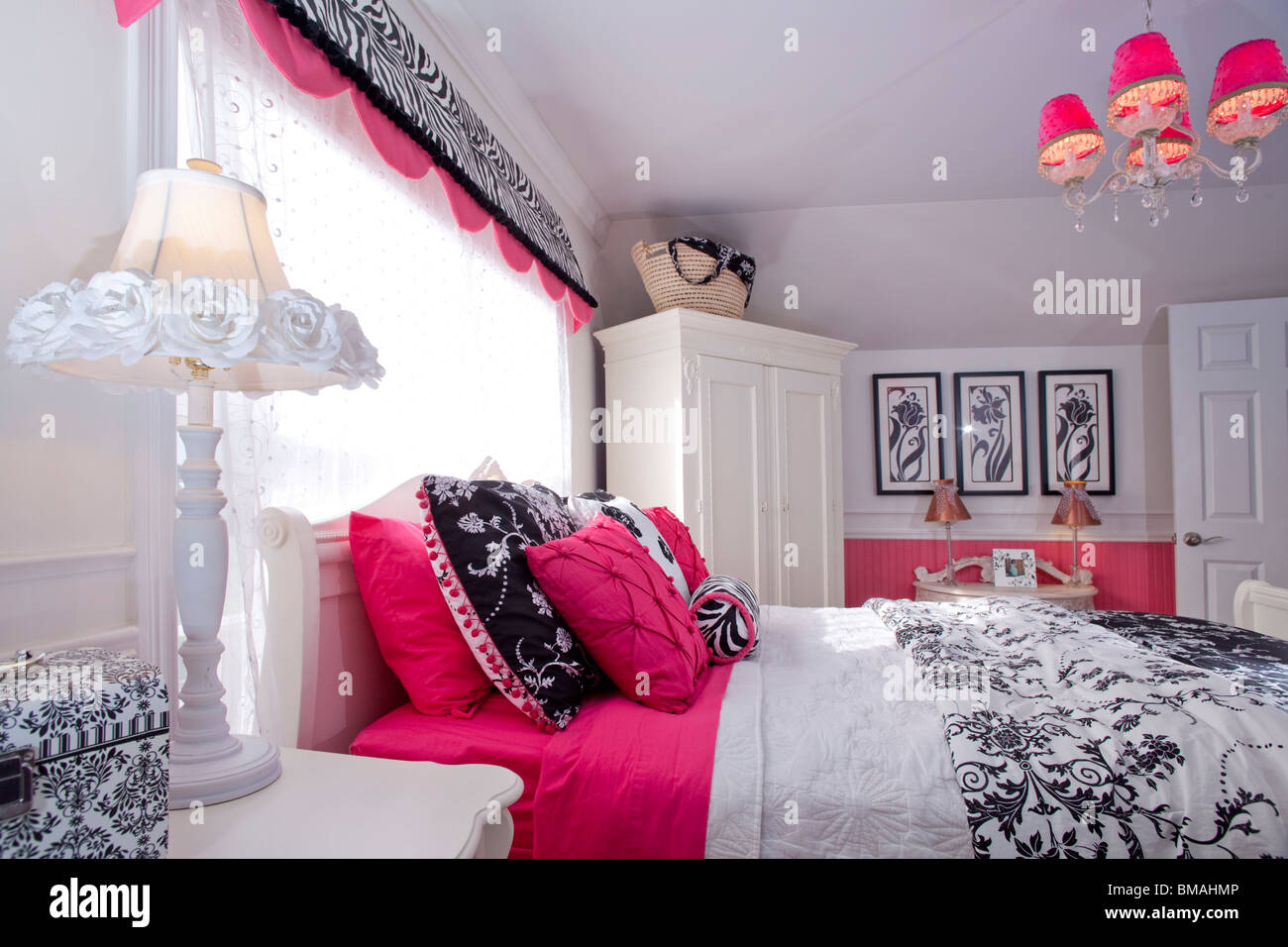 Teenager Bedroom In American House In White, Pink And Black Colors With  Matching Decorations