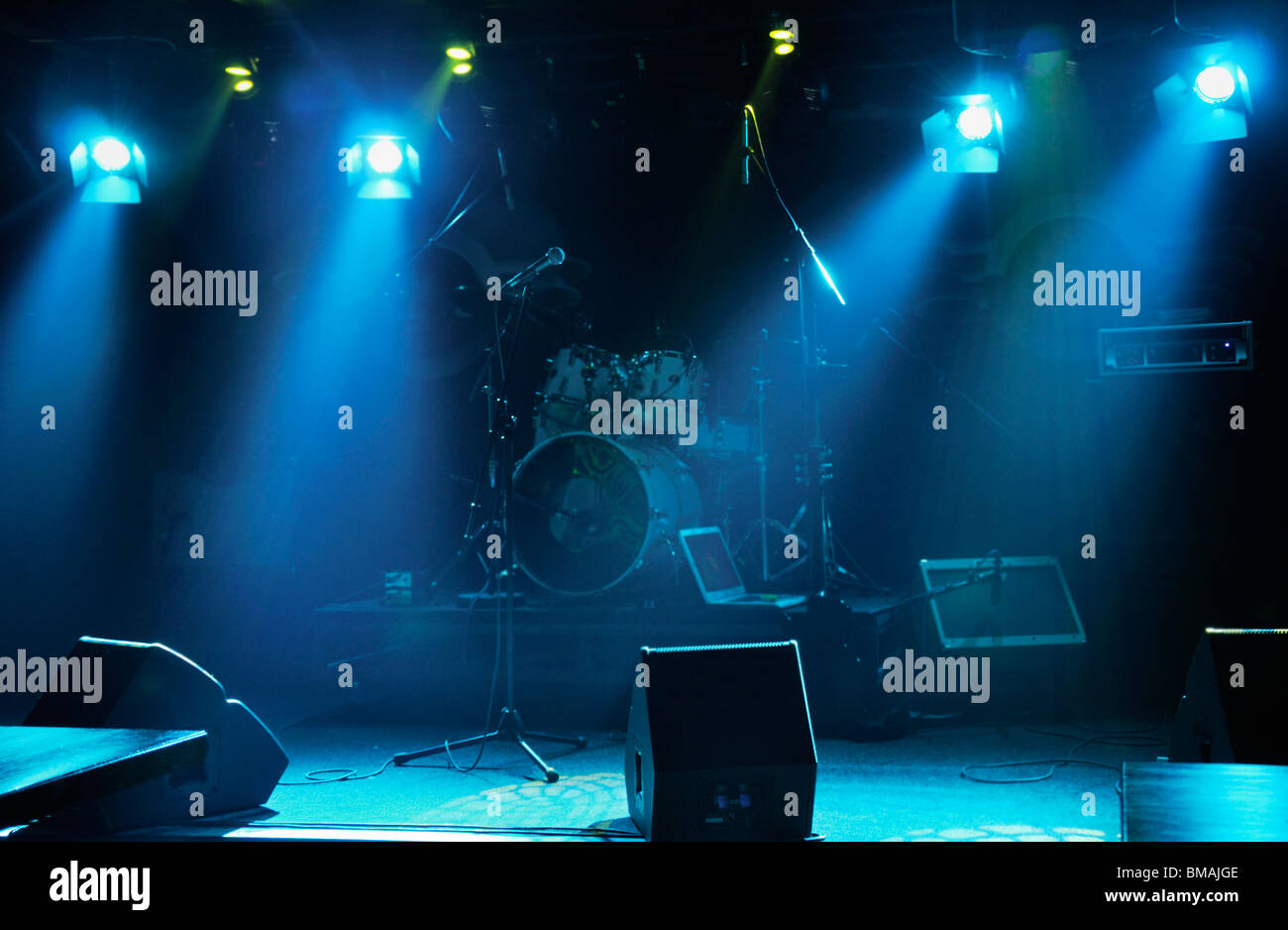 Empty Stage Under Spot Lights
