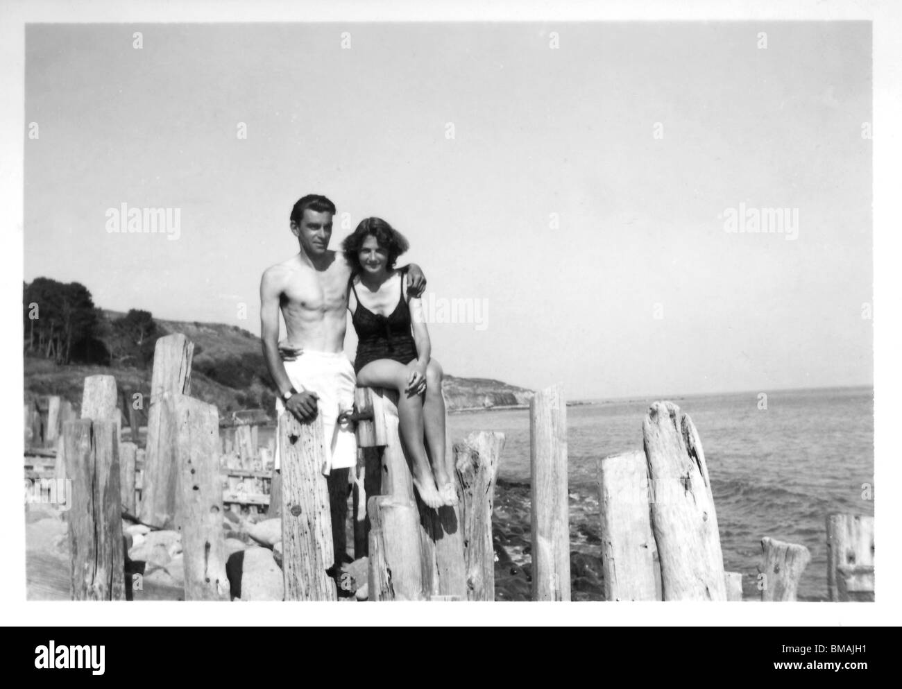 Archive Photo: Holiday snap of couple on beach in swimming costume (Castlehaven Isle of Wight - 1948) - Stock Image
