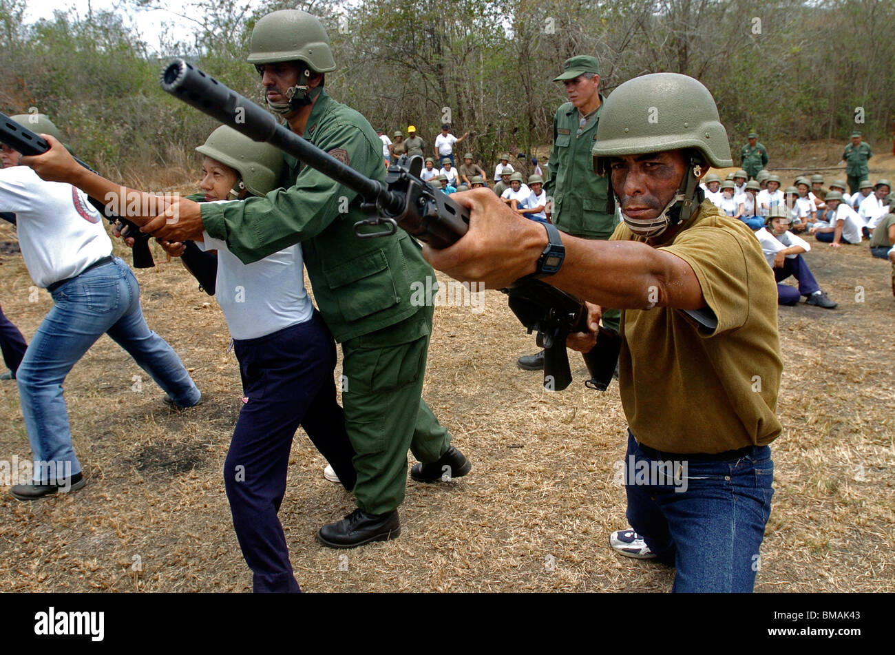 Army reservists receive military training in Charallave, Venezuela, March 25, 2006. Photo/Chico Sanchez Stock Photo