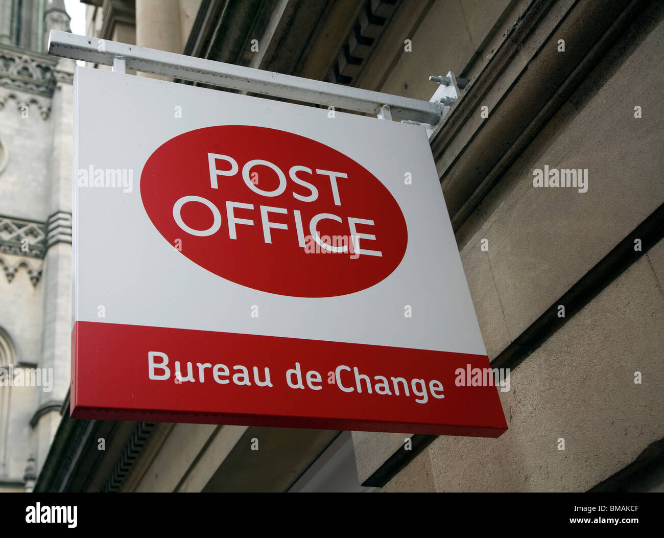 Post Office Bureau de Change sign - Stock Image