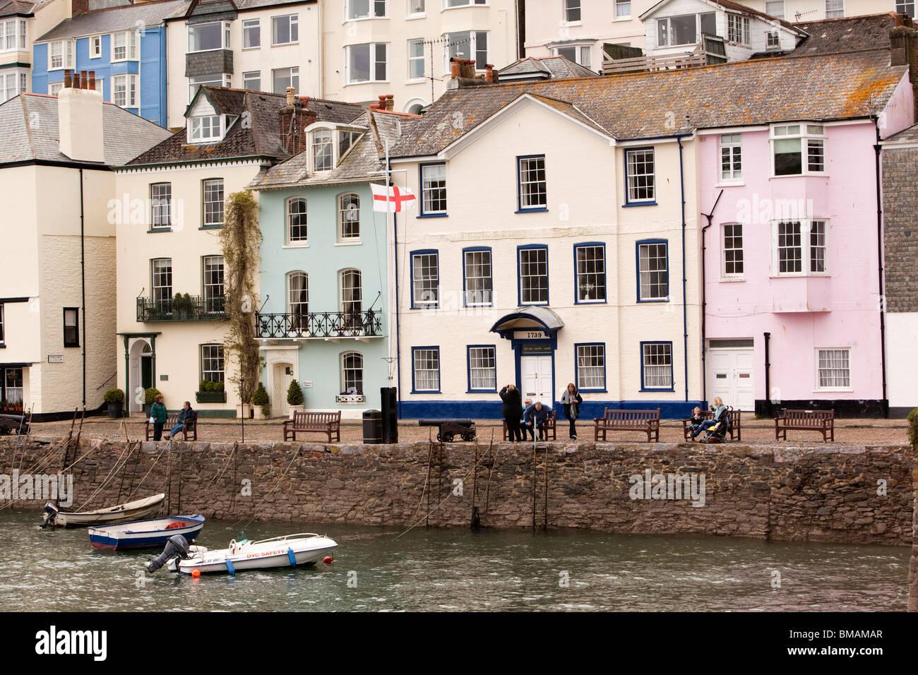 UK, England, Devon, Dartmouth, Bayard's Cove small boats moored at quayside Stock Photo