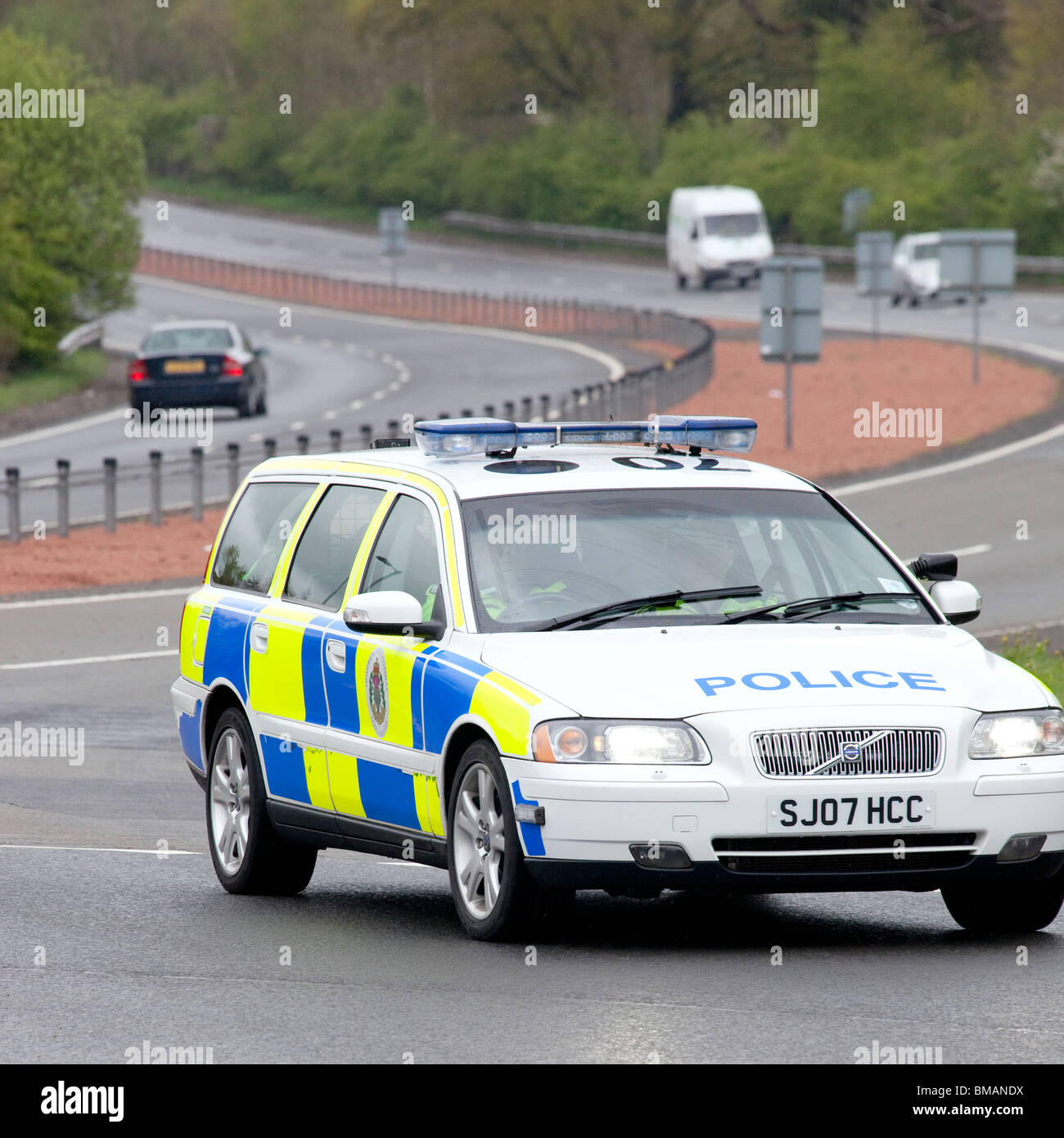 Road Traffic Police Car Volvo On The A75 Coming Around A