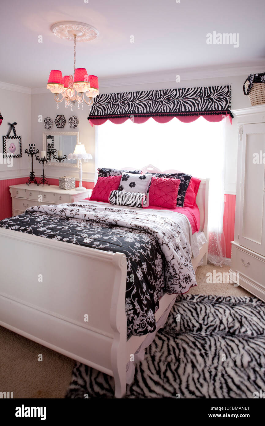Teenager Bedroom In American House In White Pink And Black Colors Stock Photo Alamy