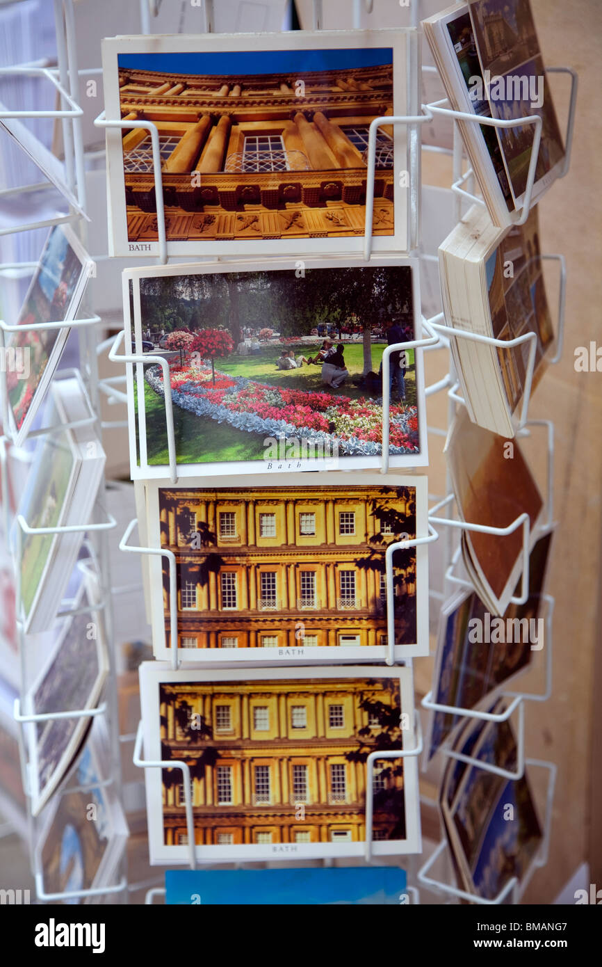 Picture postcards in display rack, Bath - Stock Image