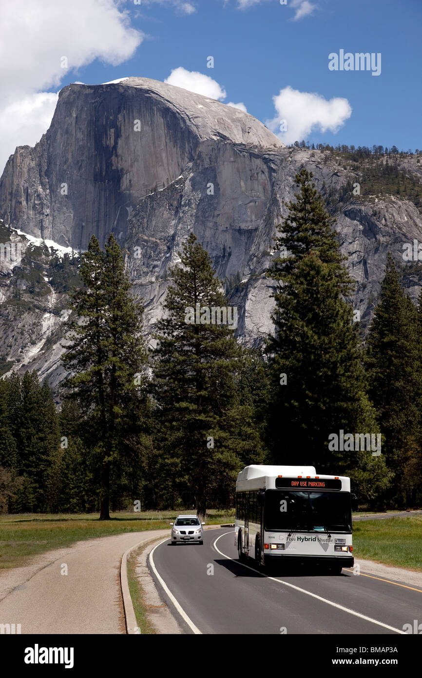 Yosemite Park shuttle bus on National Park road with half Dome peak in the background. California USA - Stock Image