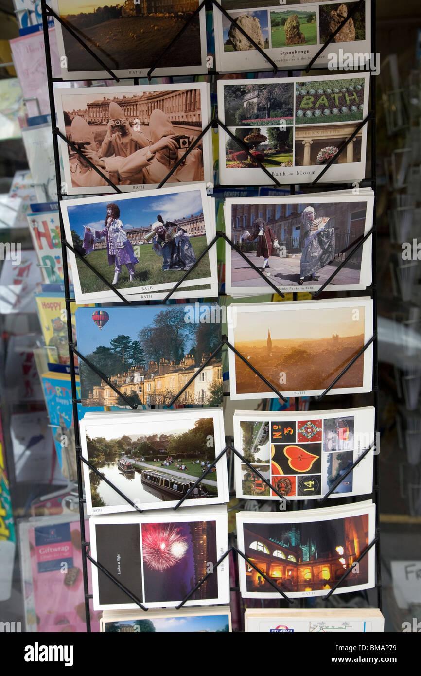 Picture postcards display rack, Bath - Stock Image
