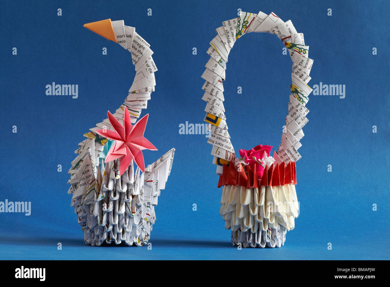 Origami Swan And Basket Of Flowers The Art Of Paper Folding Stock