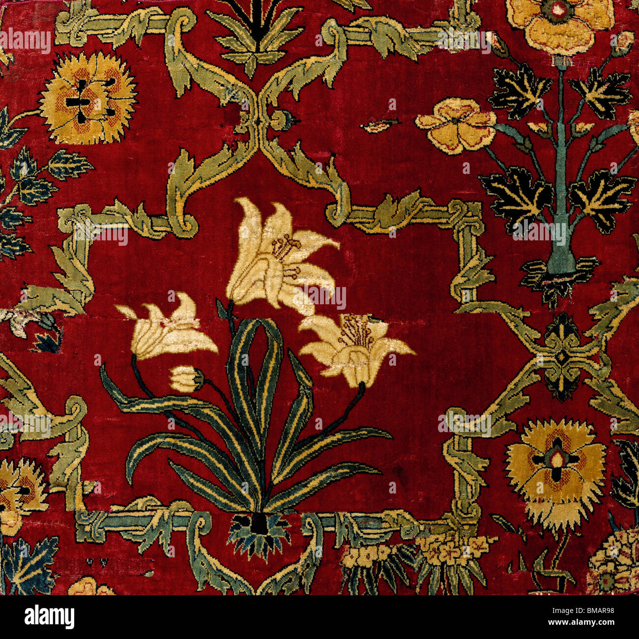 Carpet Fragment Mughal India Mid 17th Century Stock