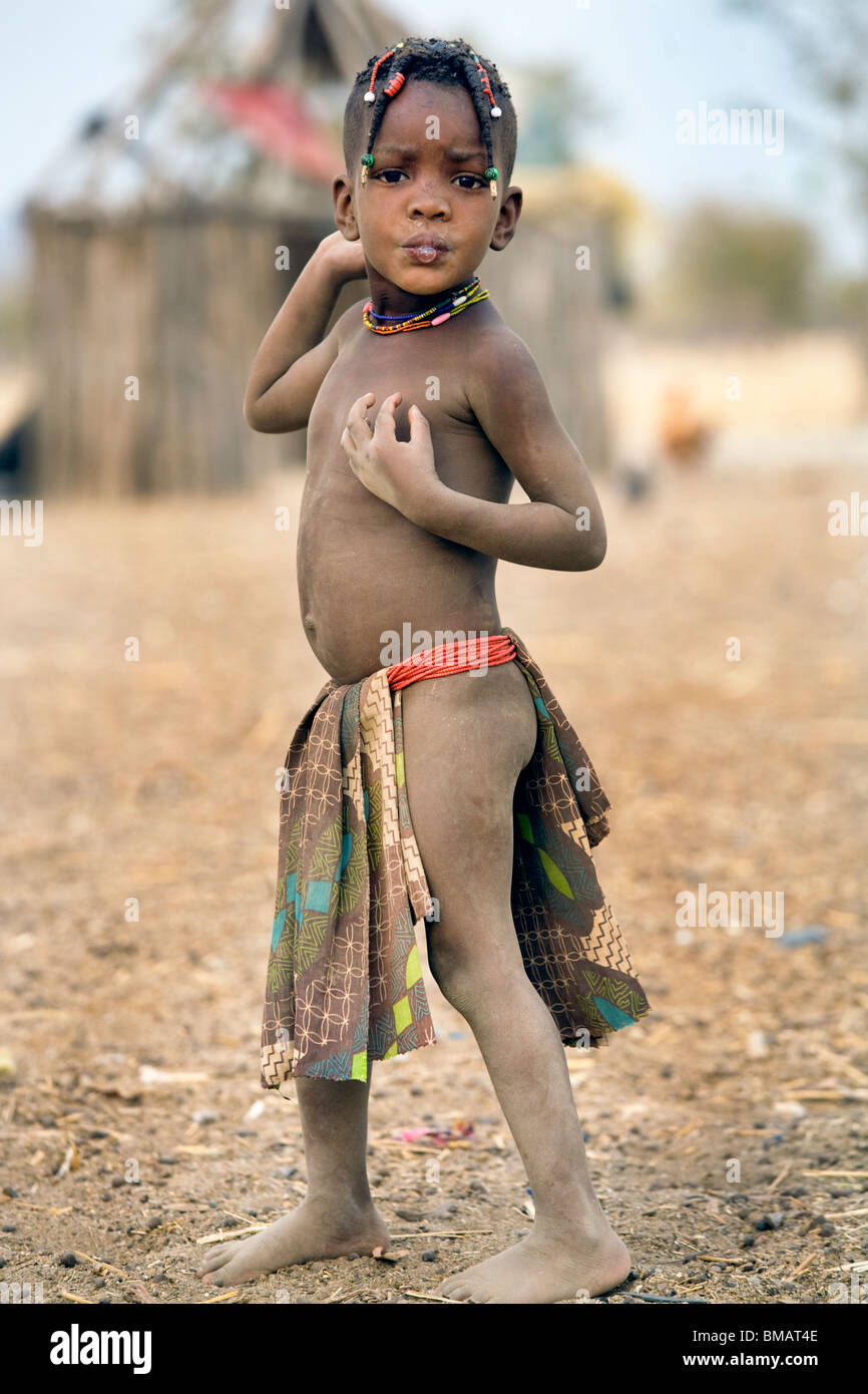 Little boy of the Owambo tribe, Northern Namibia - Stock Image