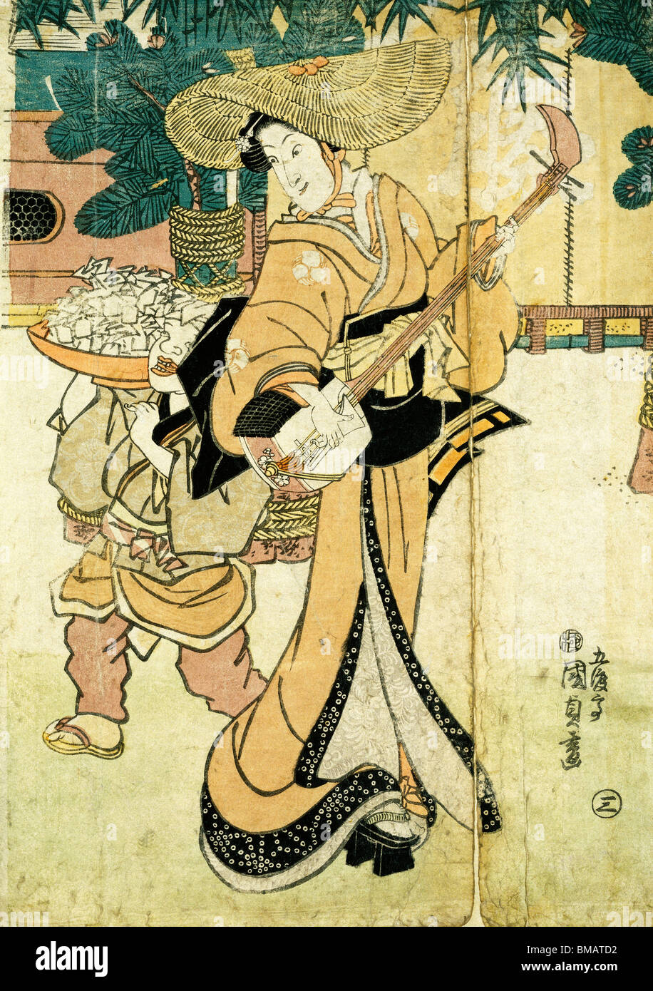 A Musician, by Utagawa Kunisada. Japan, 1864 - Stock Image