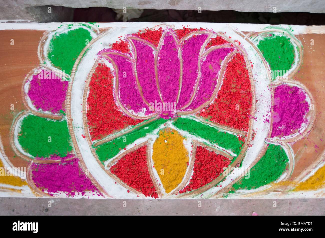 Diwali Festival Rangoli Design Outside Shop Using Coloured Powder