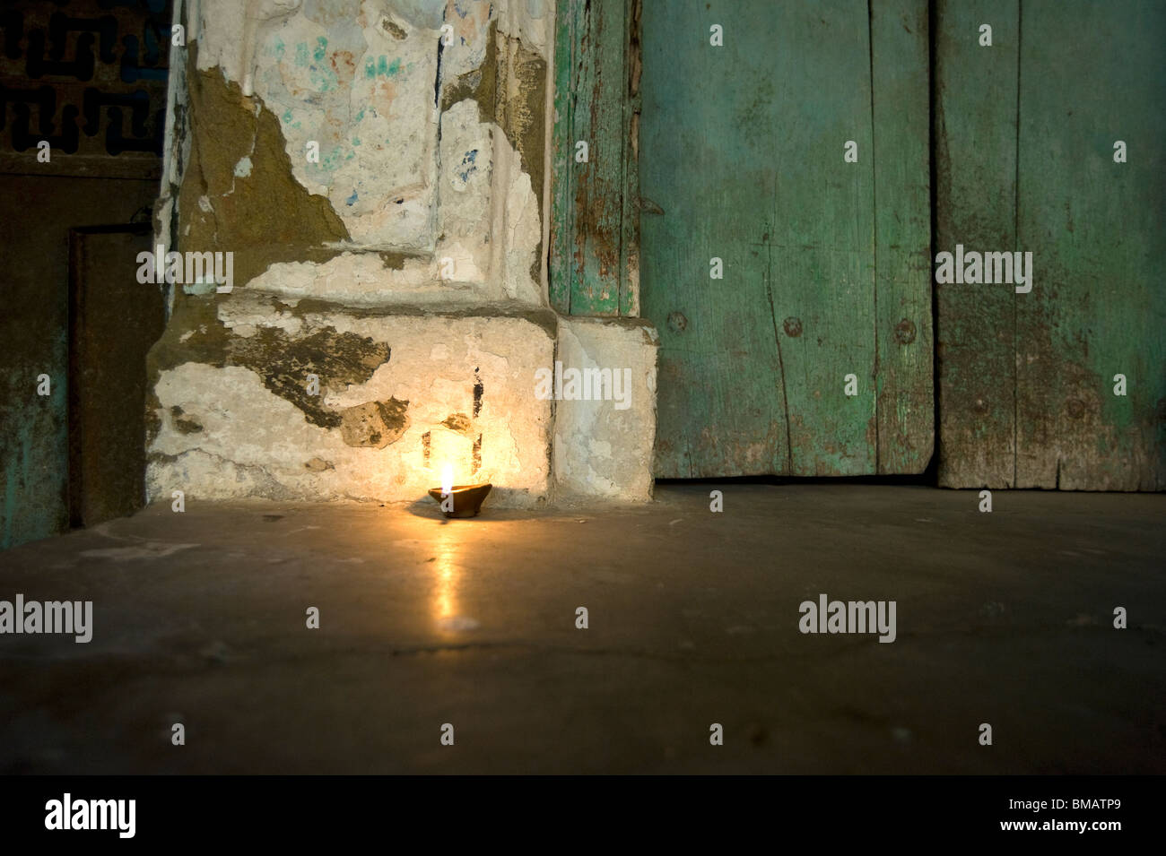 Deepak light at domestic door at Diwali, Udaipur, Rajasthan - Stock Image