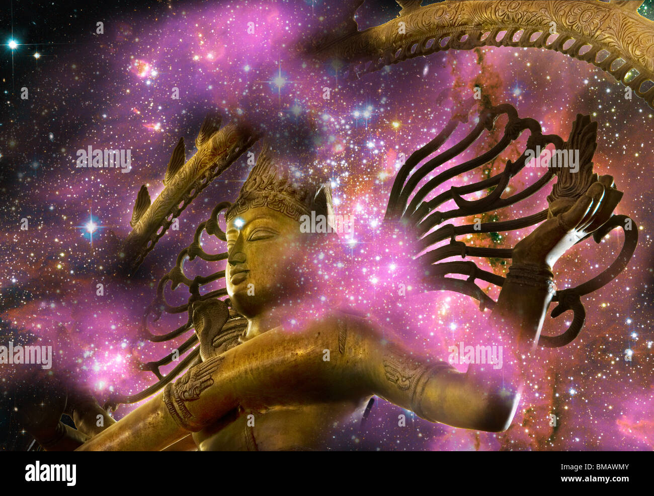 illustration of Hindu god Shiva - Stock Image