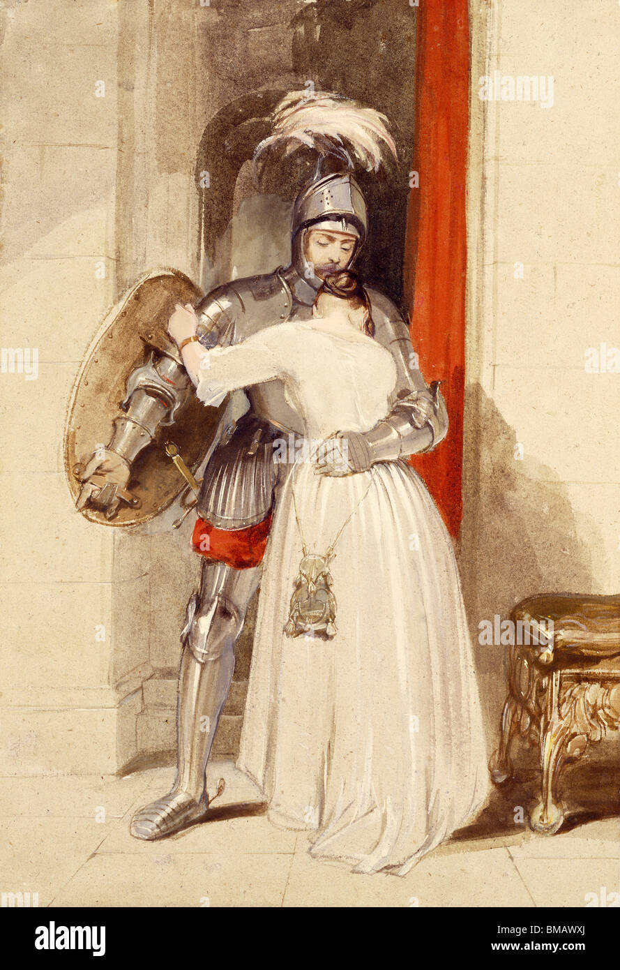 Lady Knight, by George Cattermole. England, 19th century - Stock Image
