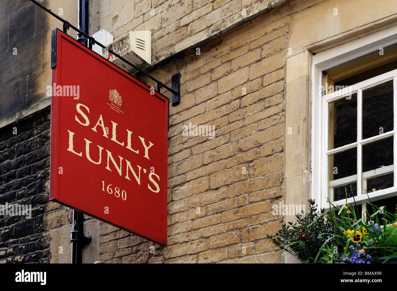 """the sign at """" sally lunns """" tearooms in bath, uk Stock Photo"""