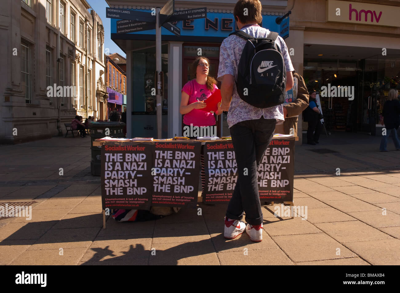 A Socialist Worker stand in the streets of Norwich , Norfolk , England , Great Britain , Uk - Stock Image