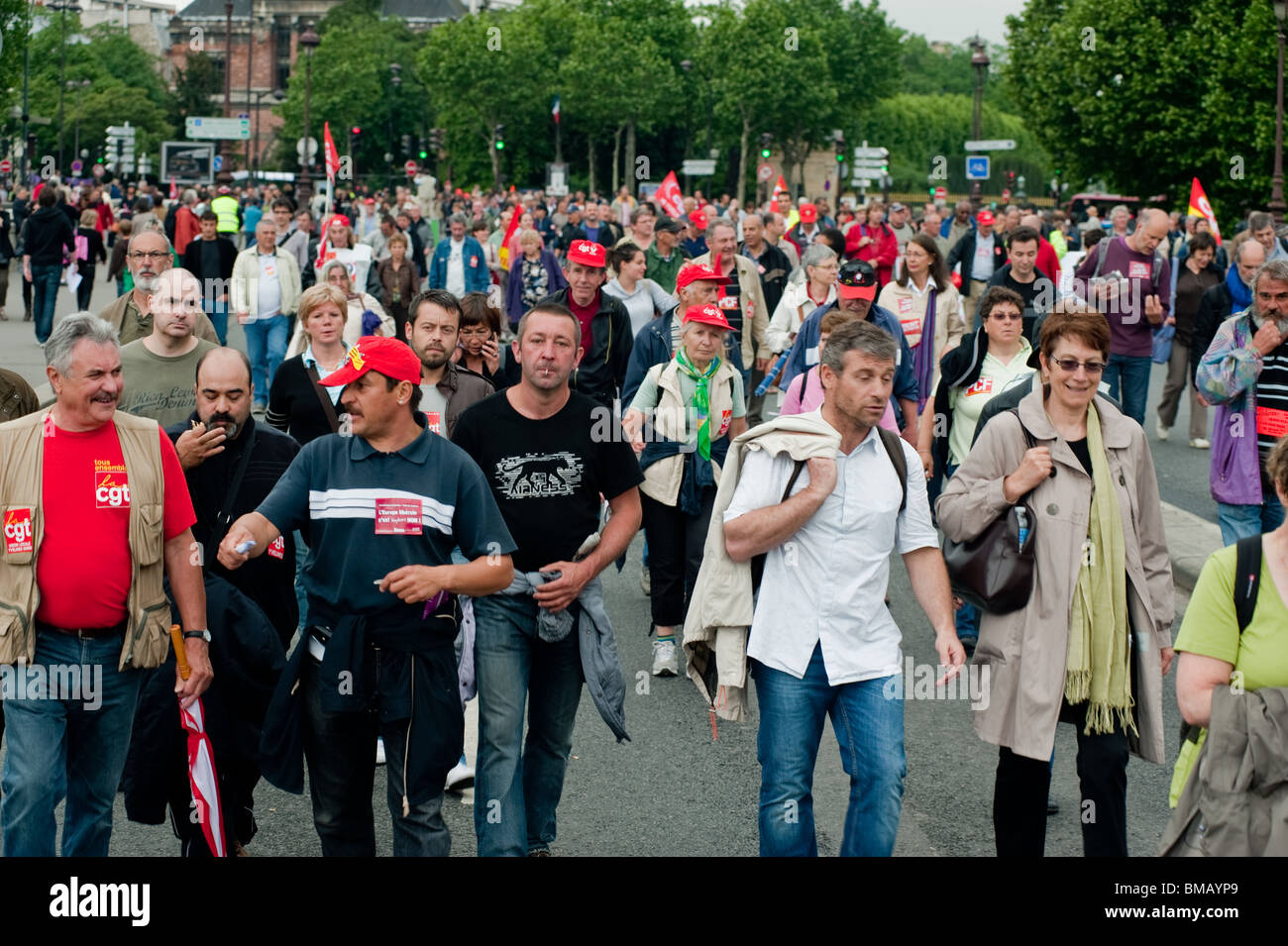 Crowd, Tens of thousands of workers, French Trade Unions, Pensioners Demonstrating against Retirement Plan Demonstration, - Stock Image