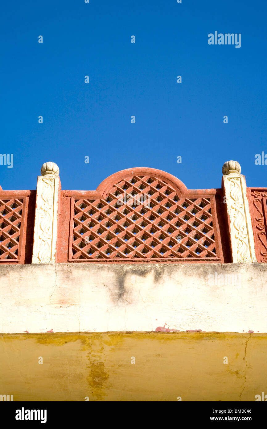 Blue sky and roof boundary design ; village Dilwara ; Udaipur Stock Rustik Boundry Wall Home Design Exterior on