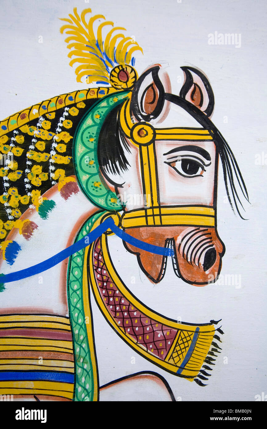 Royal Horse Traditional Wall Decoration On Entrance For The Marriage Stock Photo Alamy