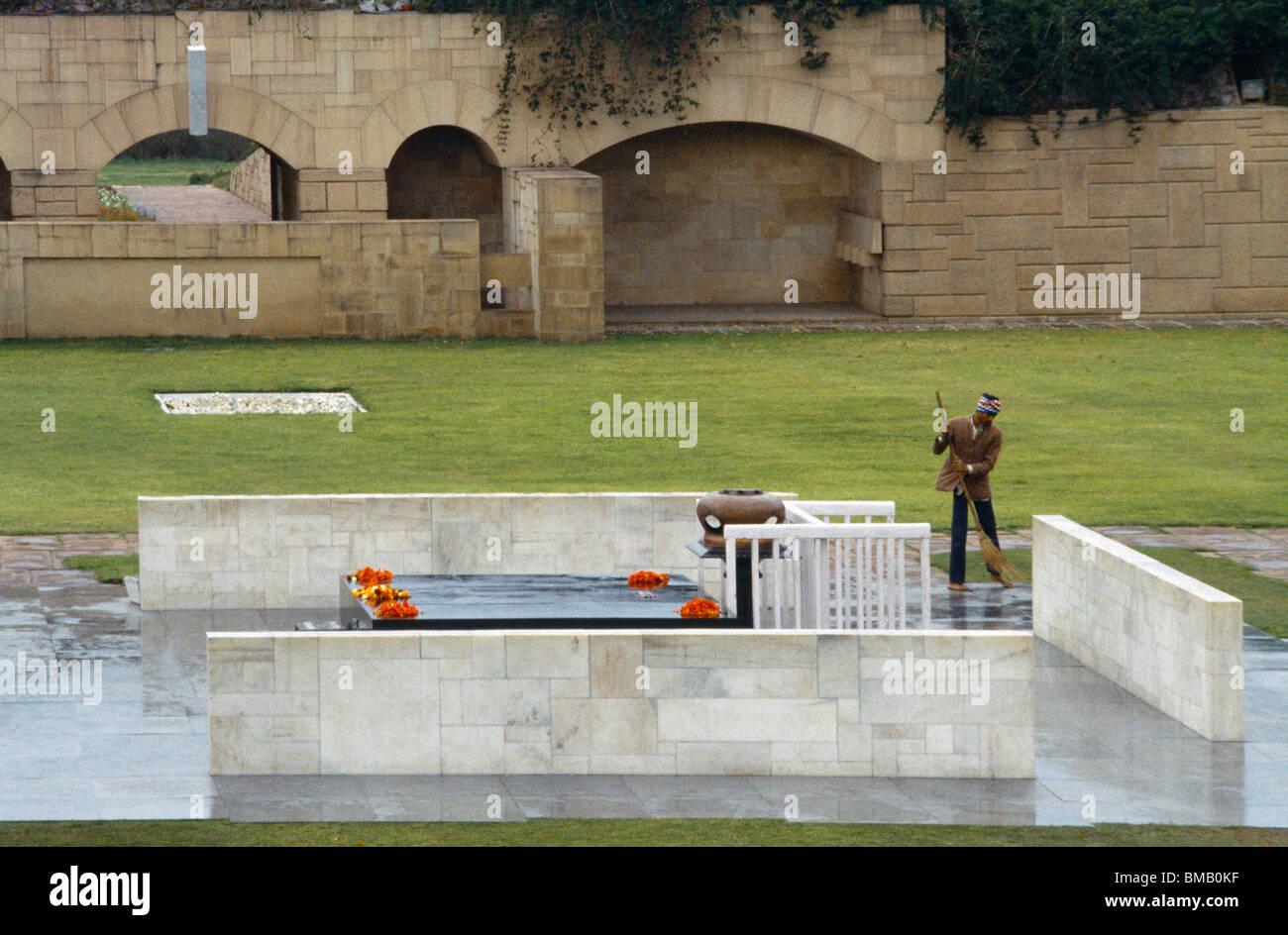 Delhi India Memorial Mahatma Gandhi Raj Ghat - Stock Image