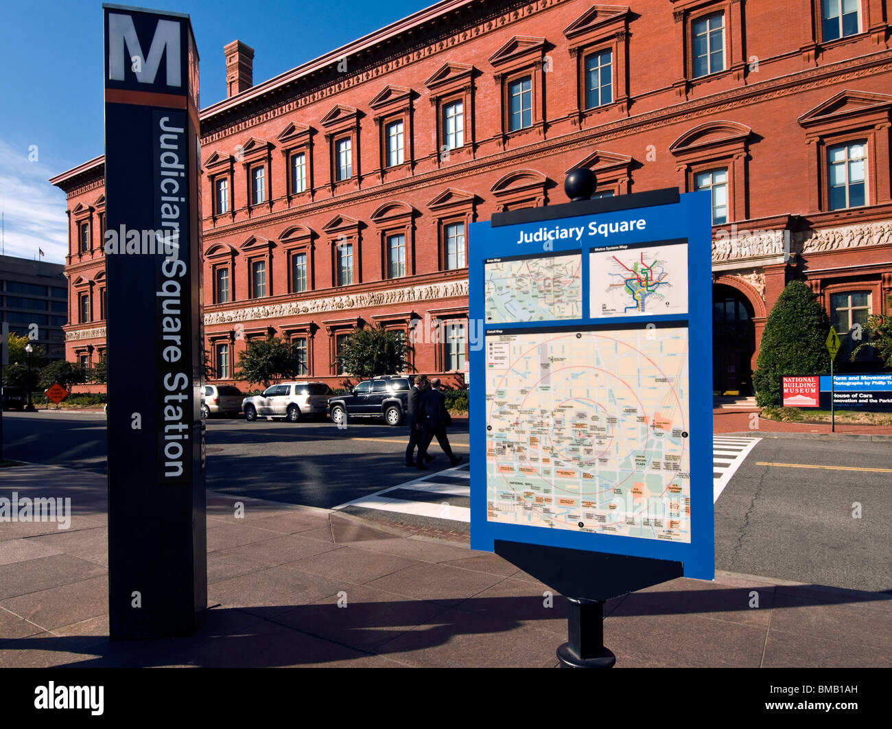 Judiciary Square Metro Station in Washington DC with the Building Museum in background - Stock Image