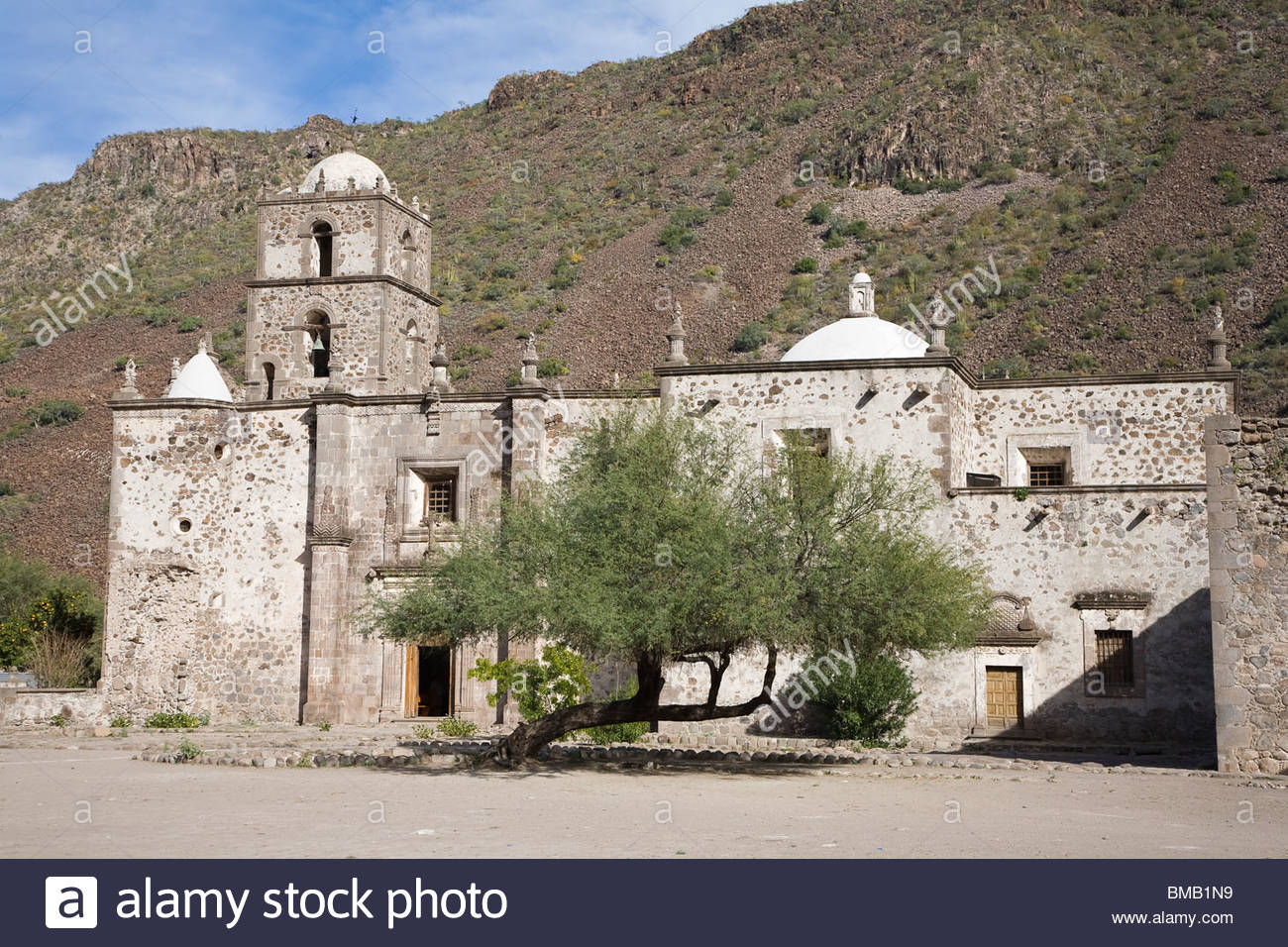 The mission San Francisco Javier de Vigge-Biaundo, Spanish mission built in 1699. - Stock Image