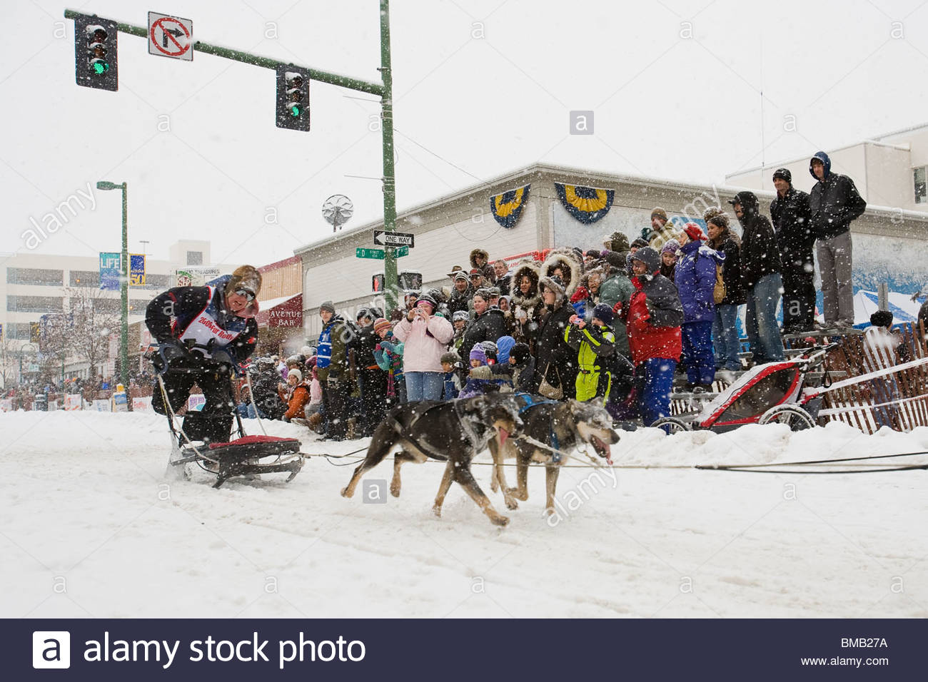 Alaska, Anchorage. Fur Rondezvous winter carnival. World Championship Dog Sled Races. Stock Photo