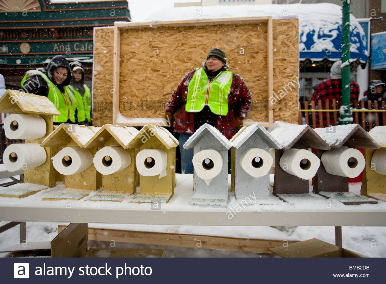 Alaska, Anchorage. Fur Rondezvous winter carnival. Outhouse races. Stock Photo