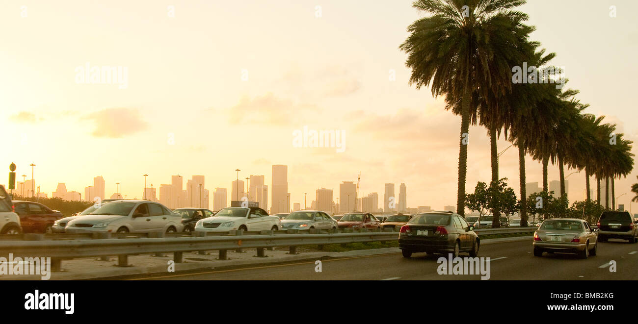 Rush hour traffic on MacArthur Causeway between Miami Beach and Miami, Florida, USA - Stock Image