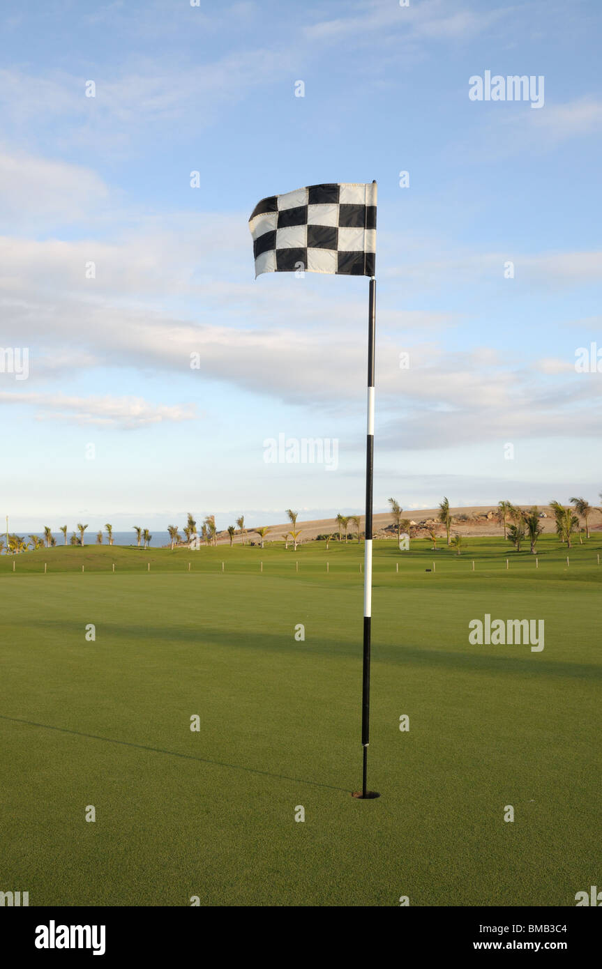 Flag at Coastal Golf Course - Stock Image