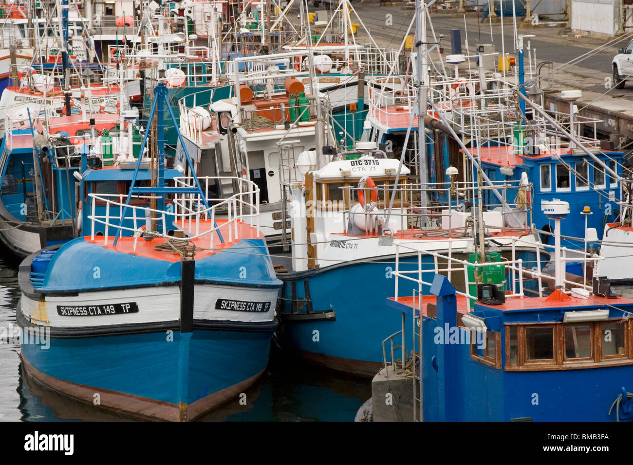 Fishing boats in Cape Town harbor, South africa - Stock Image