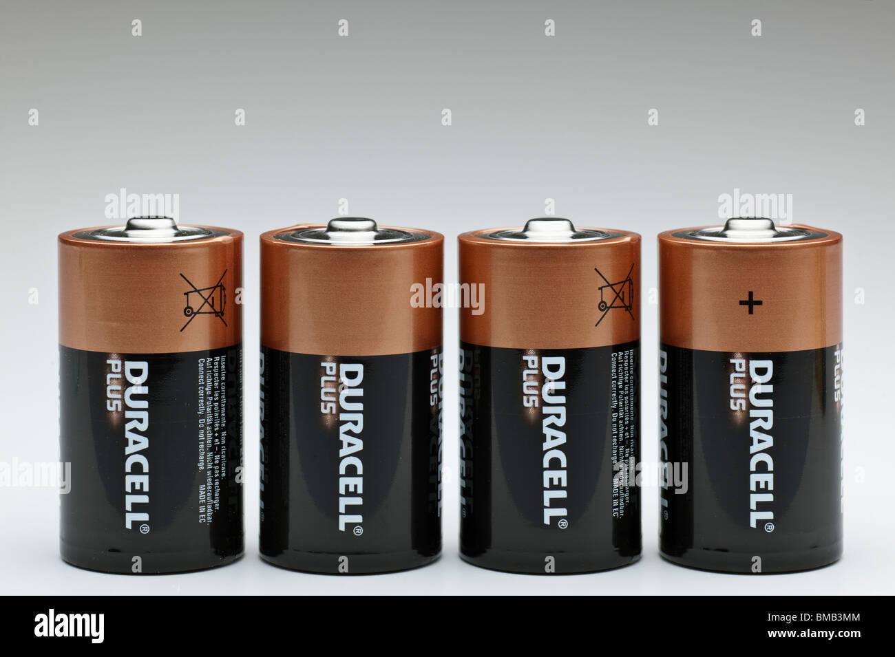 Four Duracel Plus LR20 mn1300 1.5v alkaline batteries - Stock Image
