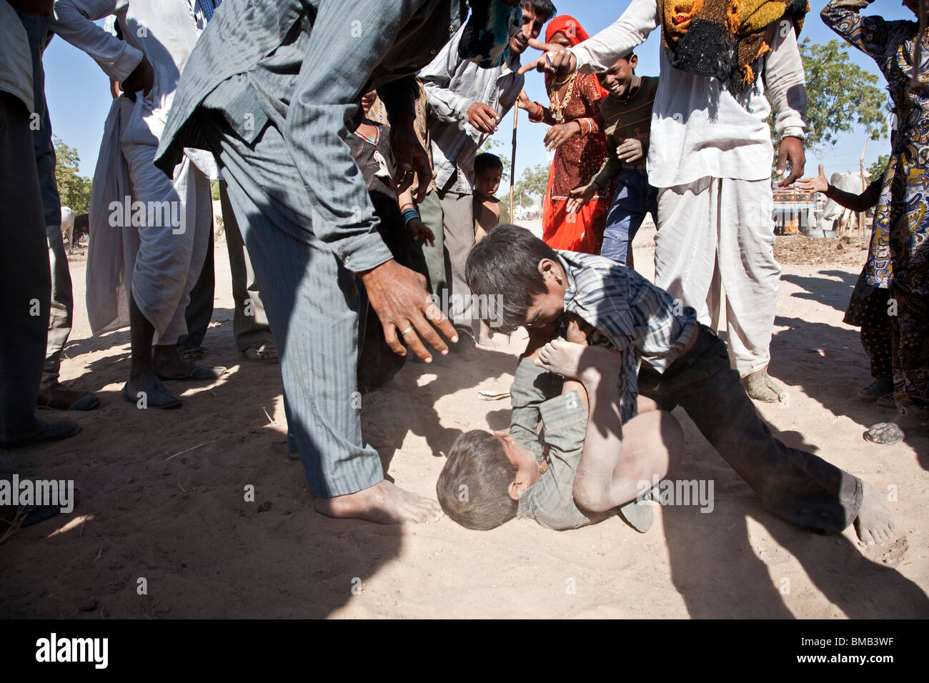 Gipsy boys fighting. Nagaur. Rajasthan - Stock Image