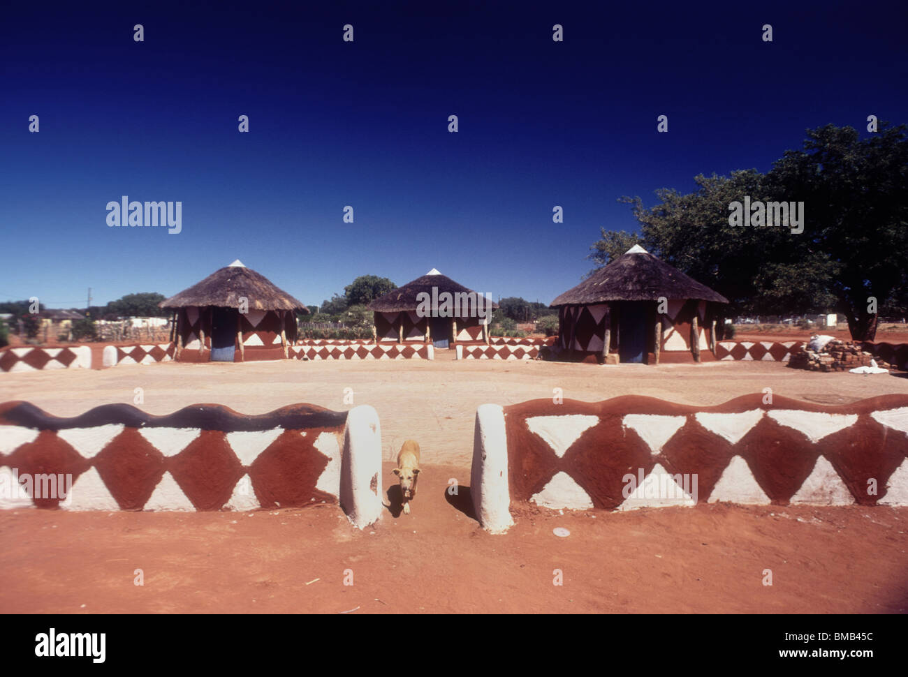 Traditional decorated mud huts Stock Photo