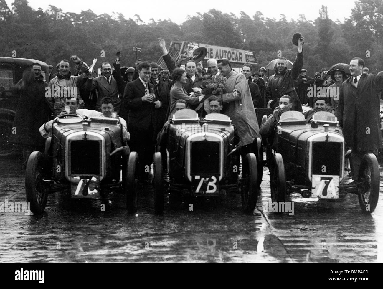 Austin 7 Ulster works team at Brooklands 1930 - Stock Image