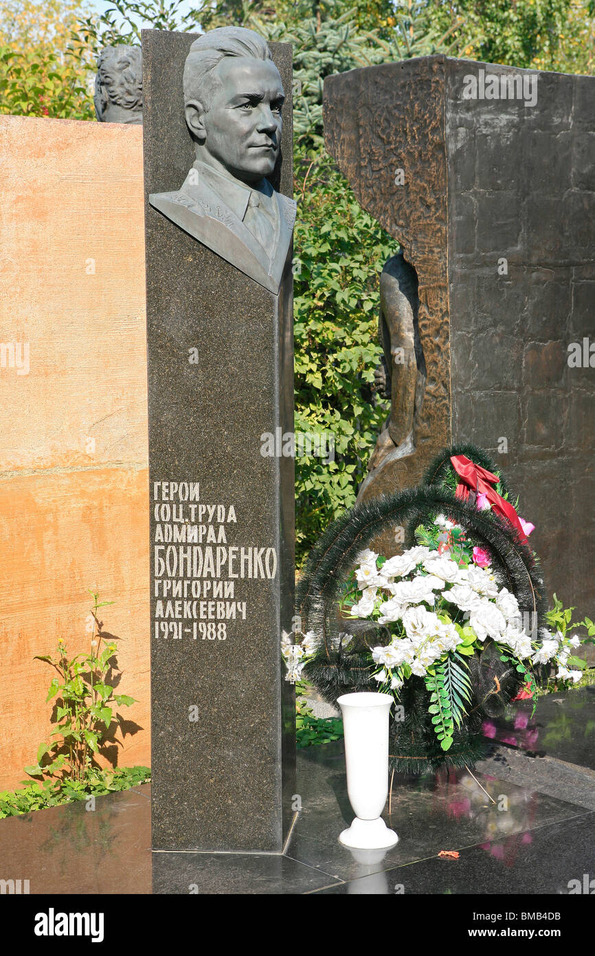 Grave of Soviet Admiral Grigory Alekseevich Bondarenko (1921-1988) at Novodevichy Cemetery in Moscow, Russia - Stock Image