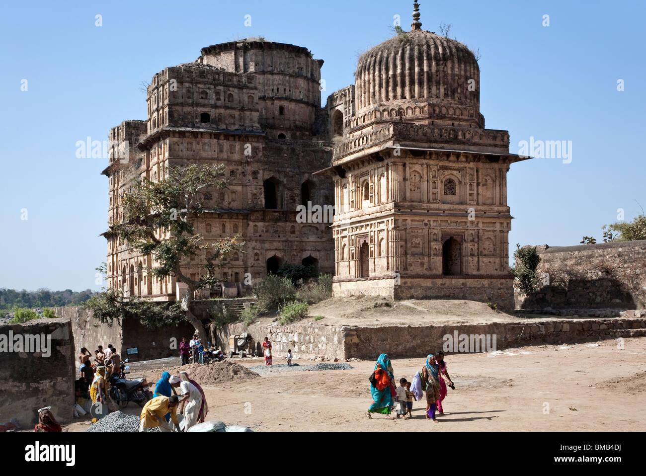 Royal cenotaphs. Orchha. India - Stock Image