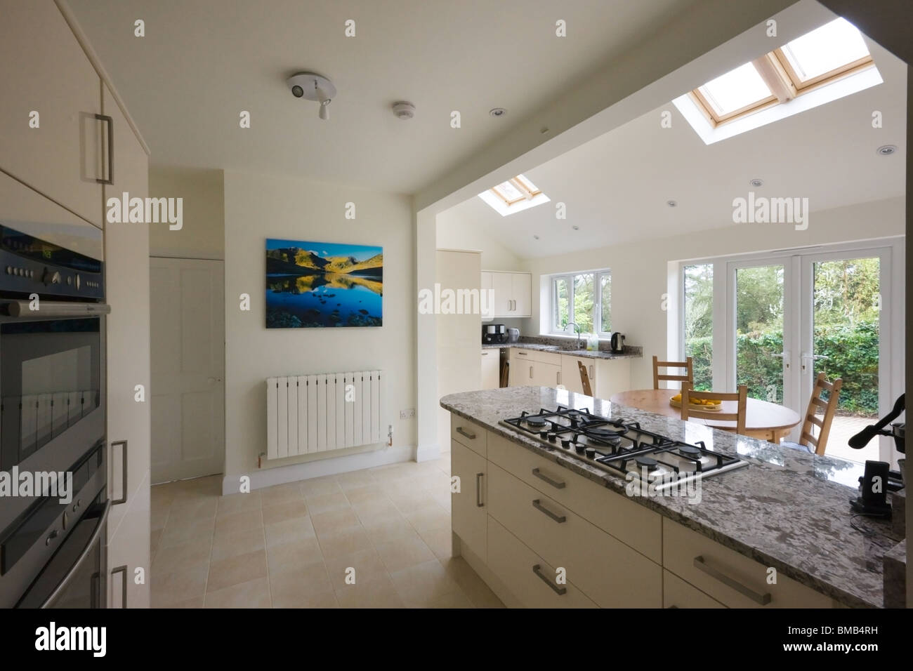 Wide Angle View Of A New Modern Kitchen Extension With
