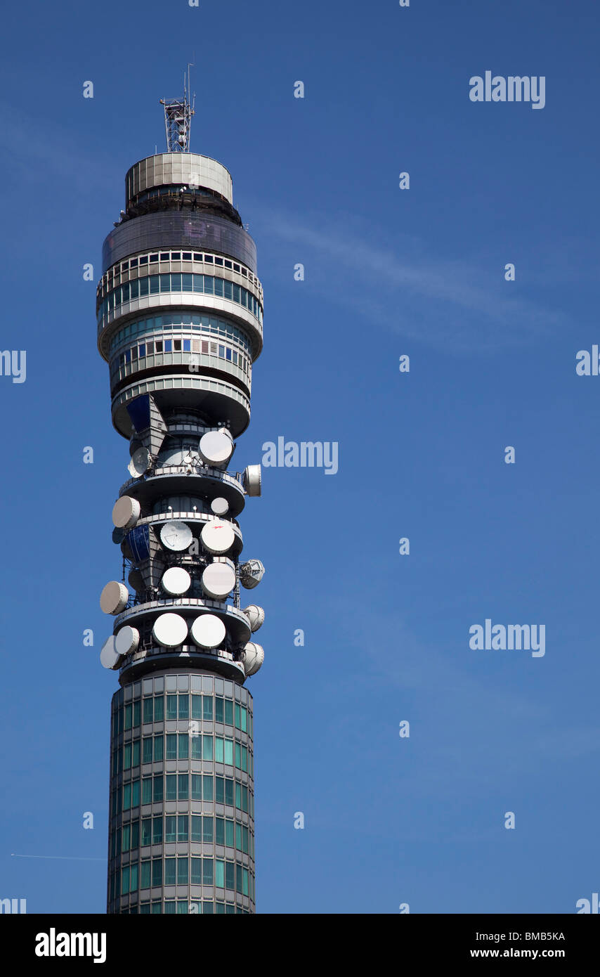 The British Telecom BT Tower in central London. An iconic landmark the tower is located at 60 Cleveland Street, - Stock Image