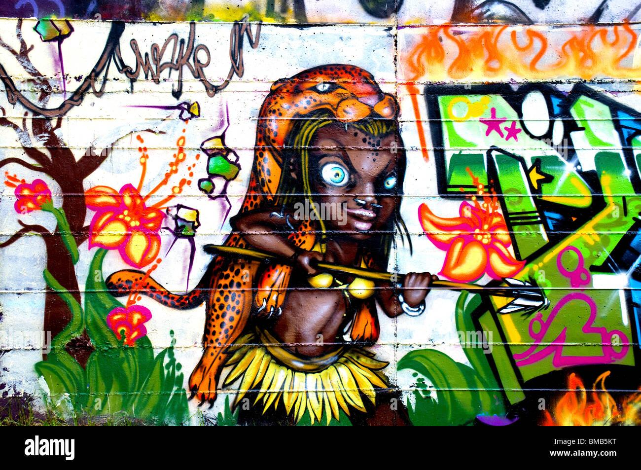 Mad savage graffiti - Stock Image