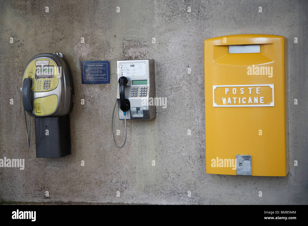 Street phones and mail box, Vatican, Rome, Italy - Stock Image