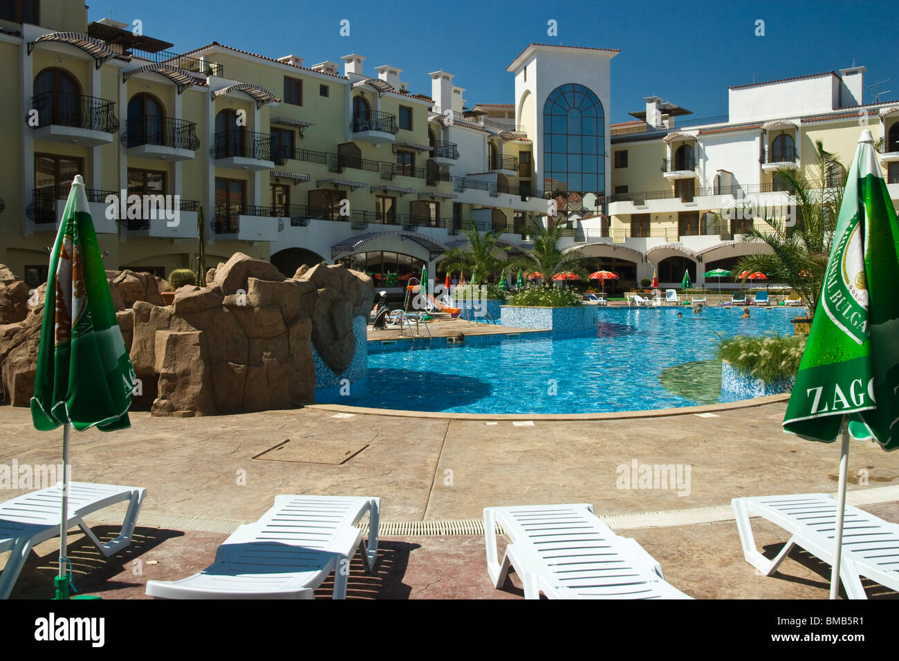 View from city of Sozopol, pool in front of hotel - Stock Image