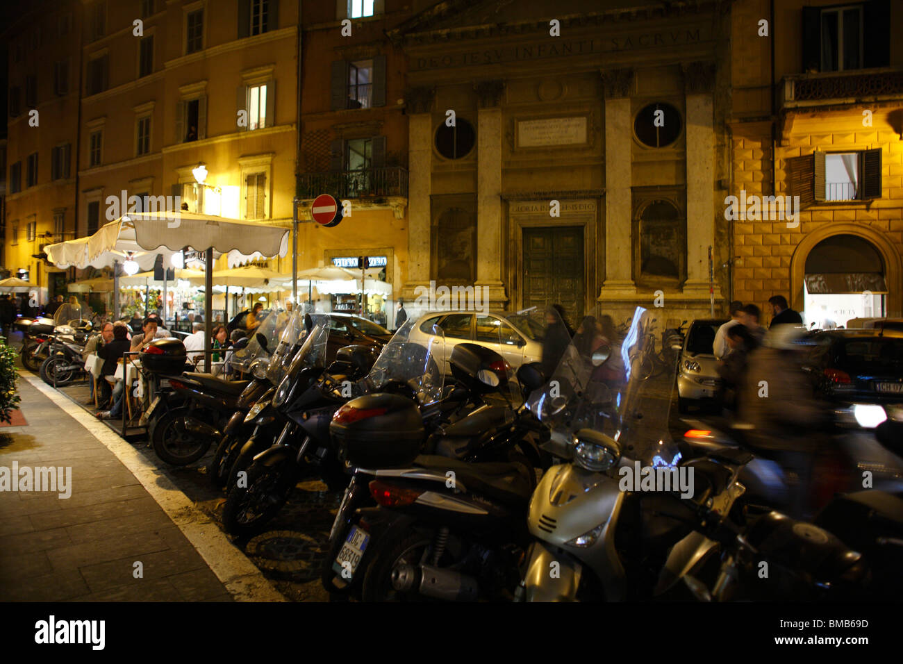 Motorcycles and scooters parking, Rome, Italy - Stock Image