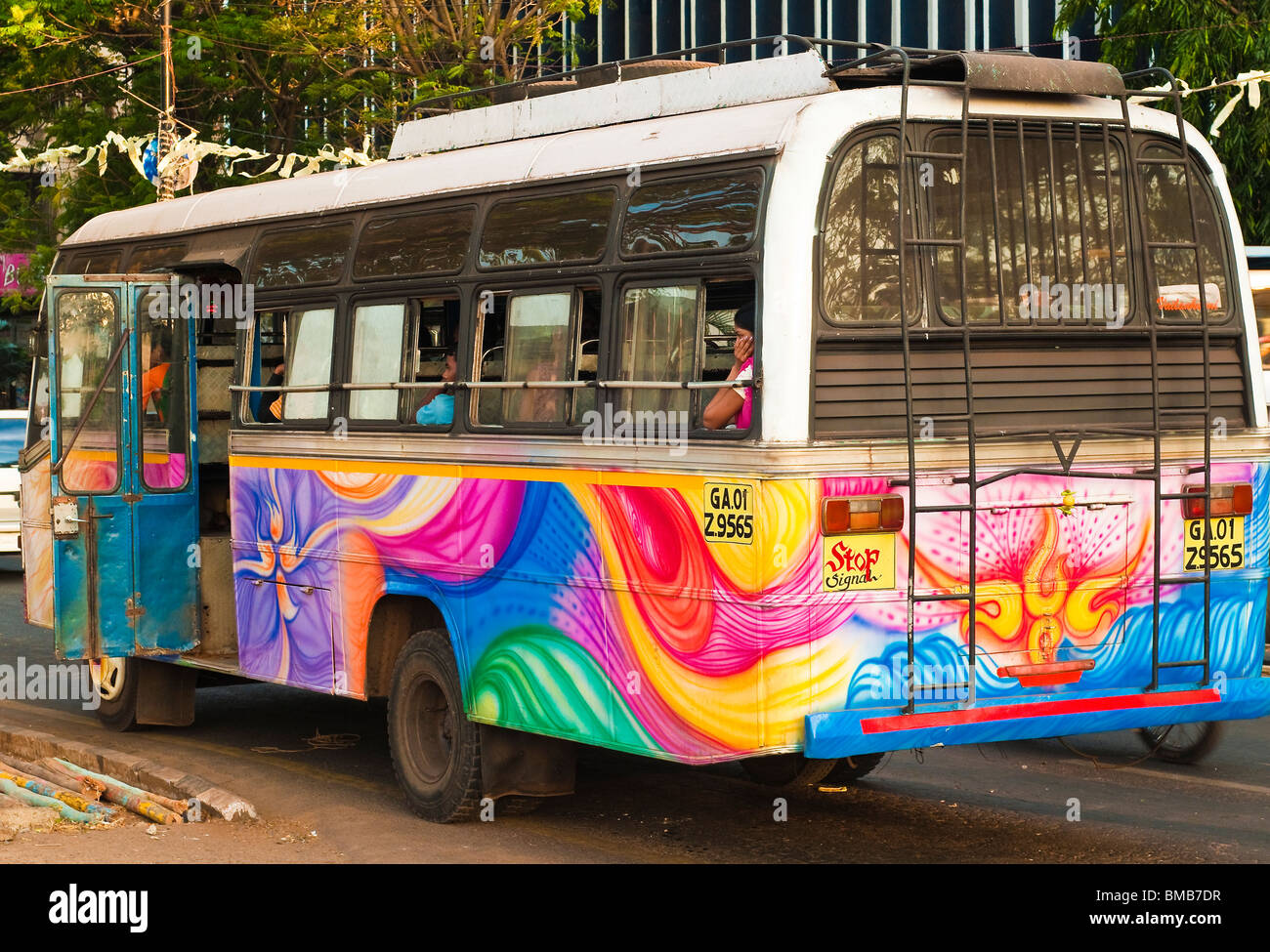 Colourful Indian Commuter Bus in Panaji, Goa, India - Stock Image