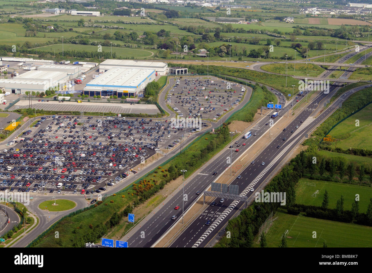 M1 motorway north of Dublin city centre seen looking north at the airport junction Dublin Ireland - Stock Image