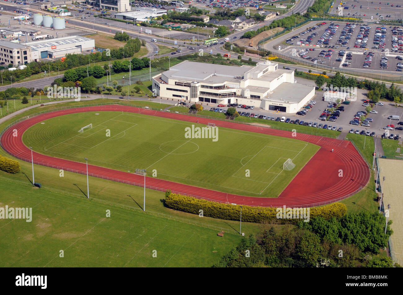 ALSAA Sport Fitness & Social Association building with athletics track and football pitch at Dublin Airport - Stock Image